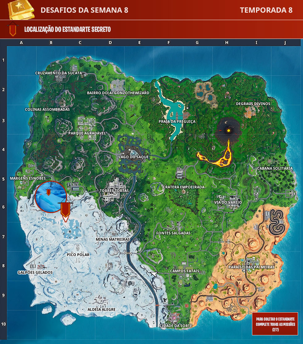 Localização do Estandarte Secreto da Semana 8 da Temporada 8 de Fortnite
