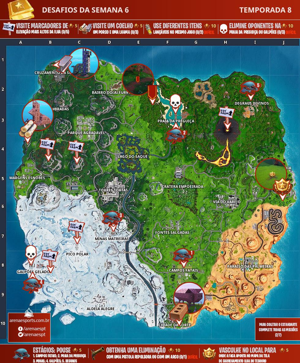 Mapa dos desafios da Semana 6 da Temporada 8 de Fortnite