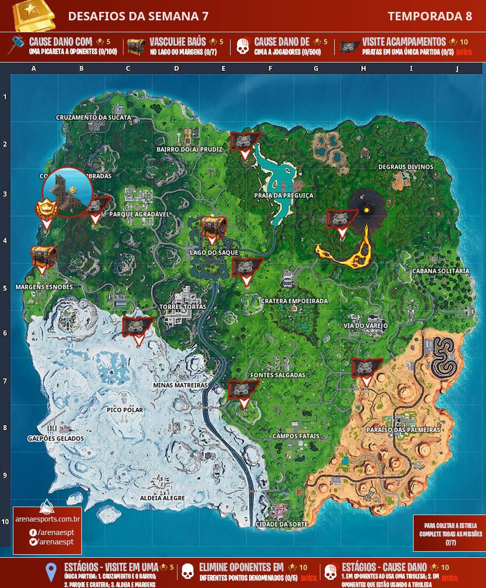 Mapa dos desafios da Semana 7 da Temporada 8 de Fortnite