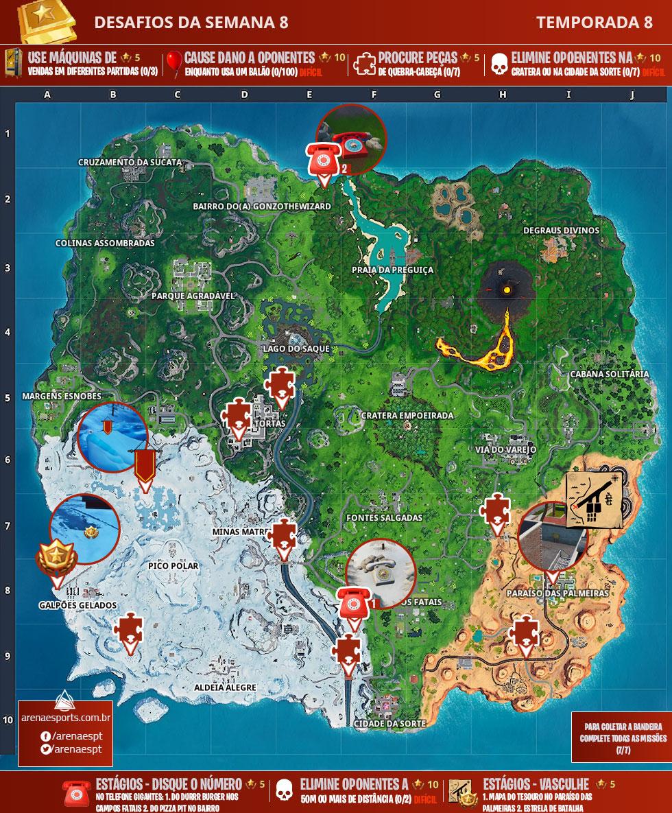 Mapa dos desafios da Semana 8 da Temporada 8 de Fortnite