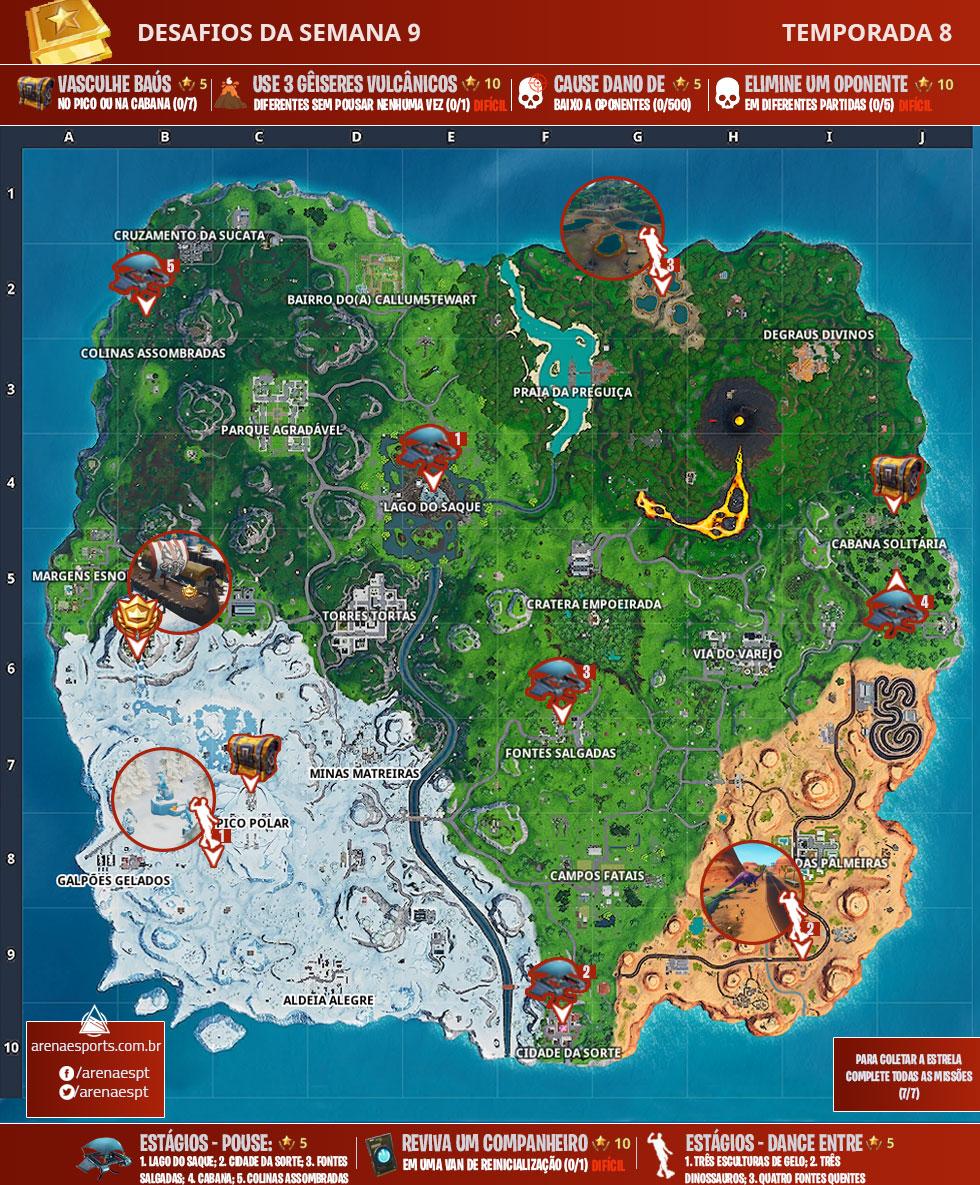 Mapa dos desafios da Semana 9 da Temporada 8 de Fortnite