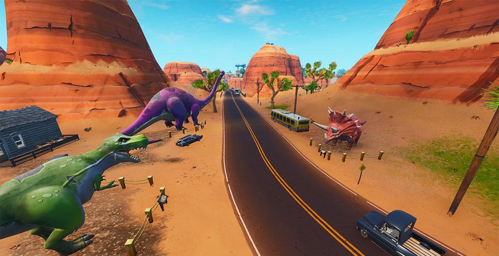 Três Dinossauros no Fortnite