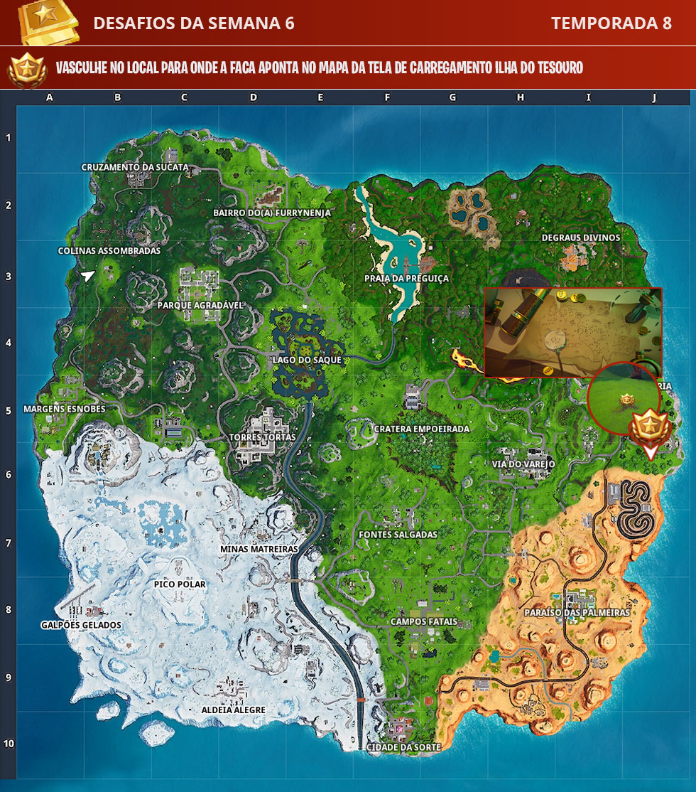 Local para onde a faca aponta no mapa da tela de carregamento Ilha do Tesouro no Fortnite