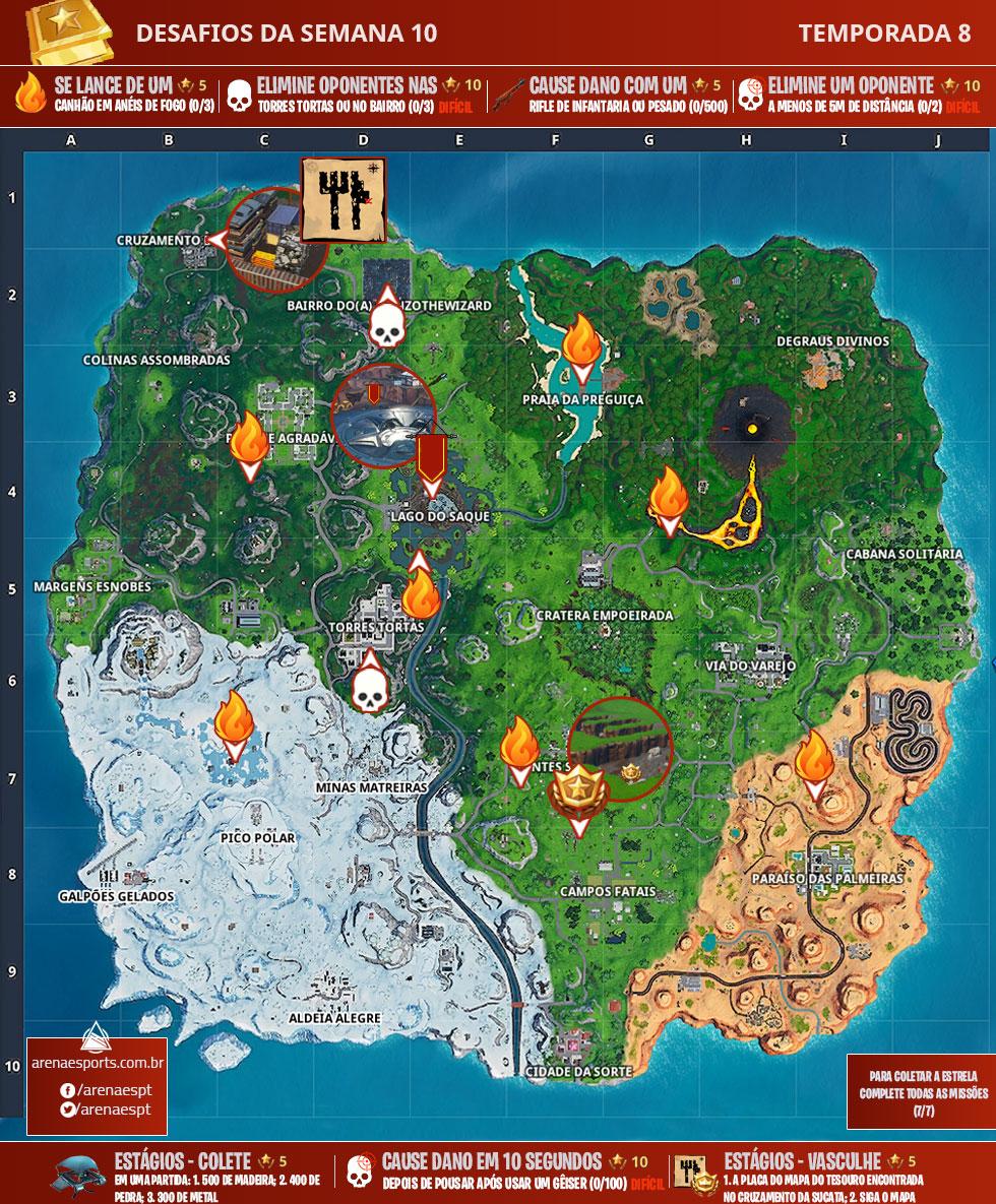 Mapa dos desafios da Semana 10 da Temporada 8 de Fortnite
