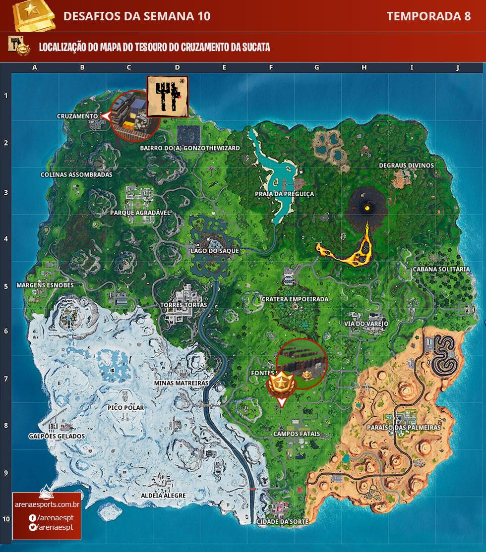 Localização do mapa do tesouro no Cruzamento da Sucata