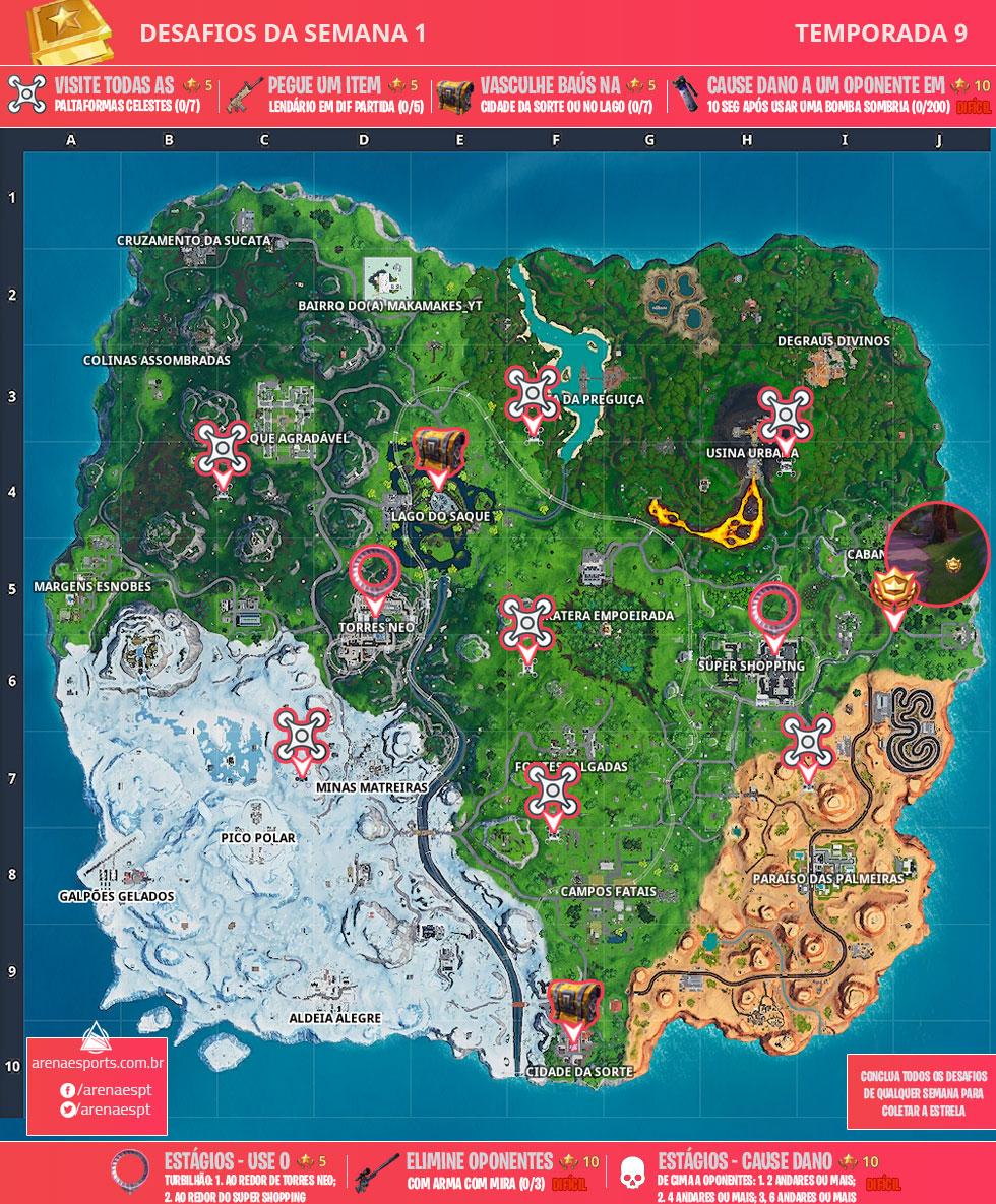 Mapa dos desafios da Semana 1 da Temporada 9 de Fortnite