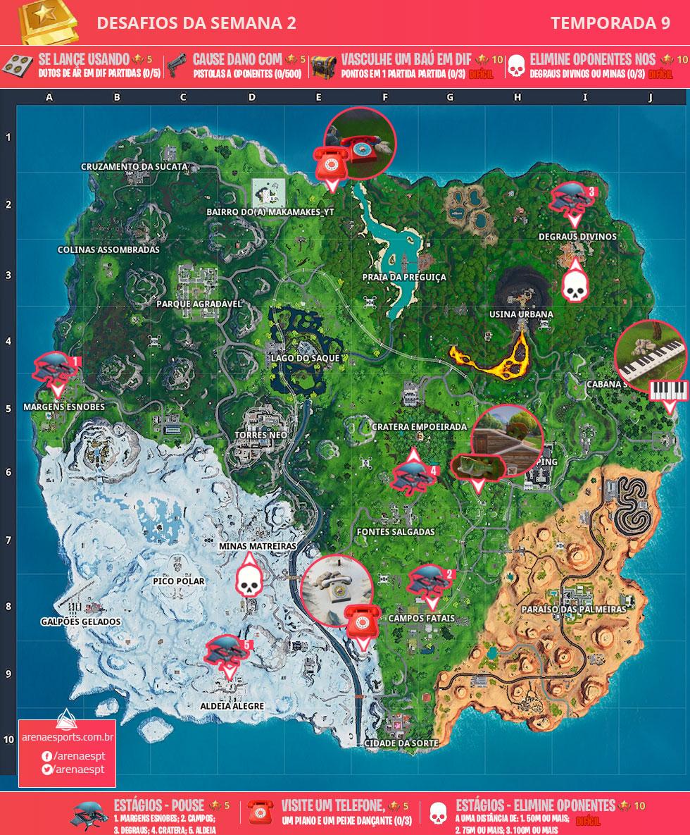 Mapa dos desafios da Semana 2 da Temporada 9 de Fortnite