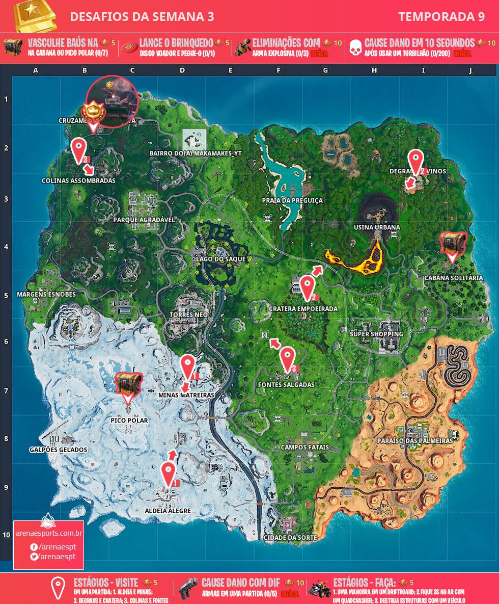 Mapa dos desafios da Semana 3 da Temporada 9 de Fortnite