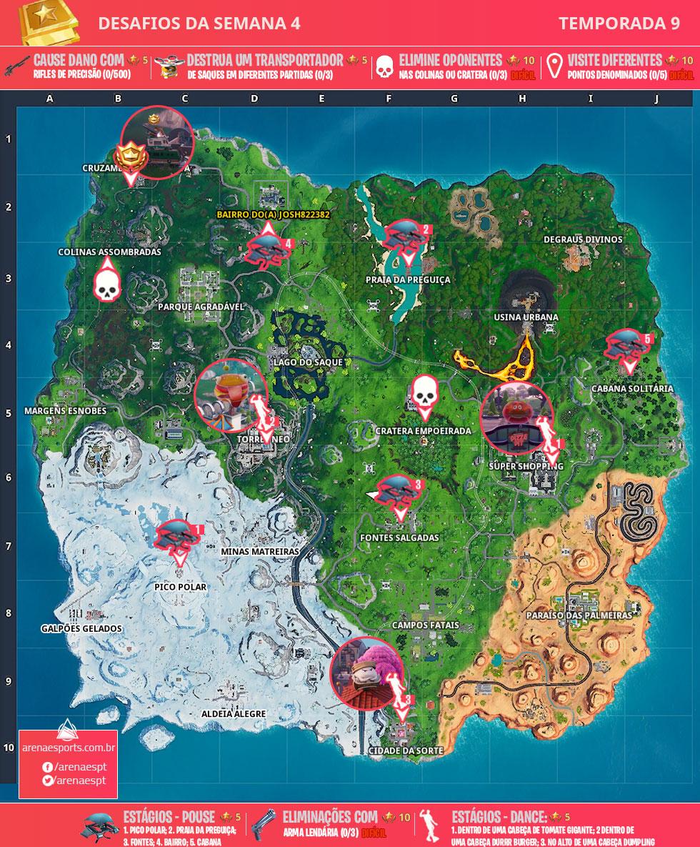 Mapa dos desafios da Semana 4 da Temporada 9 de Fortnite