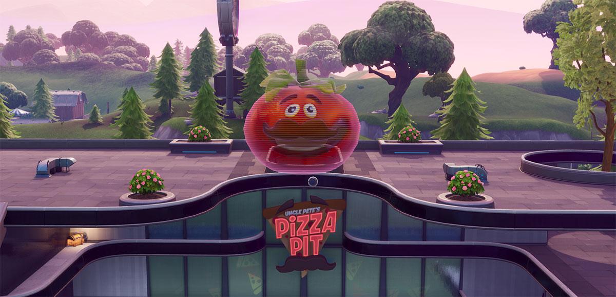 Tomate gigante holográfico no Fortnite