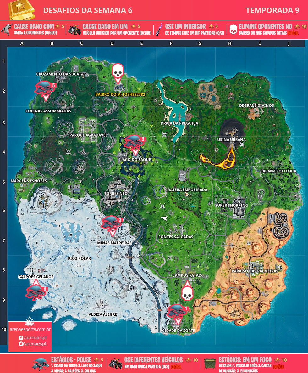 Mapa dos desafios da Semana 6 da Temporada 9 de Fortnite