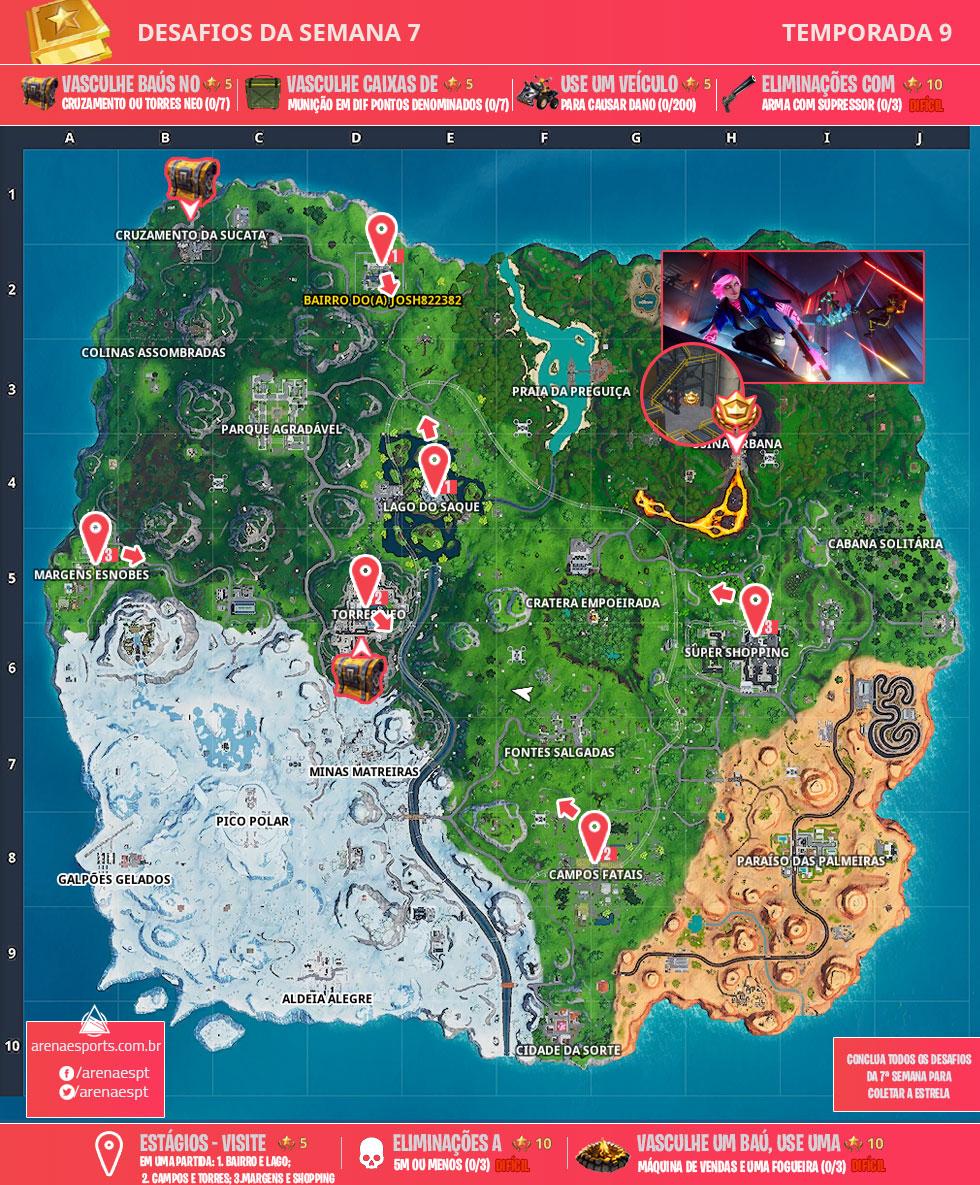 Mapa dos desafios da Semana 7 da Temporada 9 de Fortnite