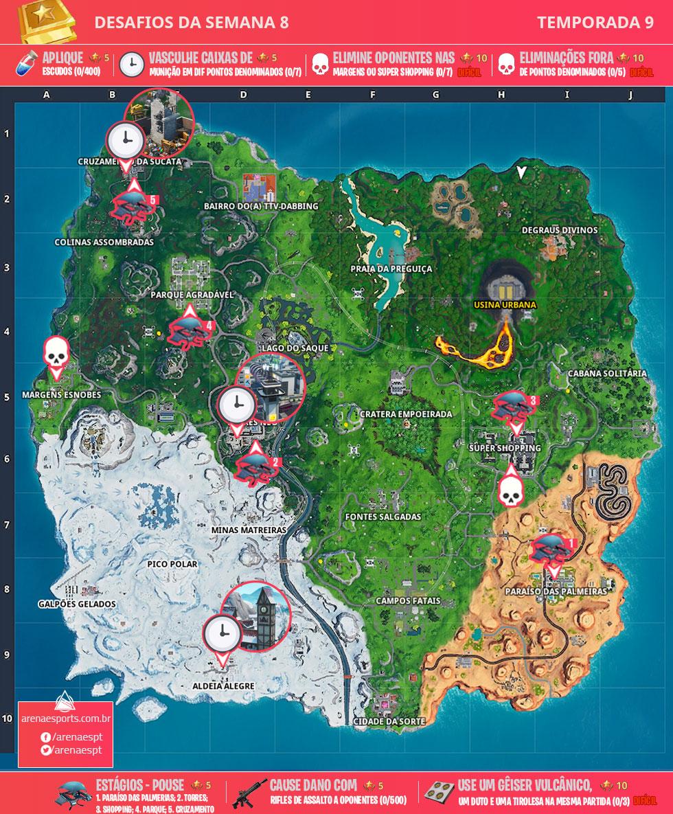 Mapa dos desafios da Semana 8 da Temporada 9 de Fortnite