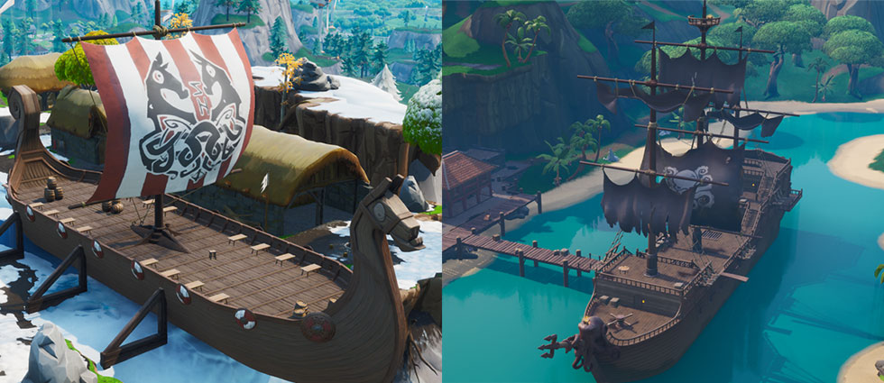 Navio Viking e Navio Pirata no Fortnite