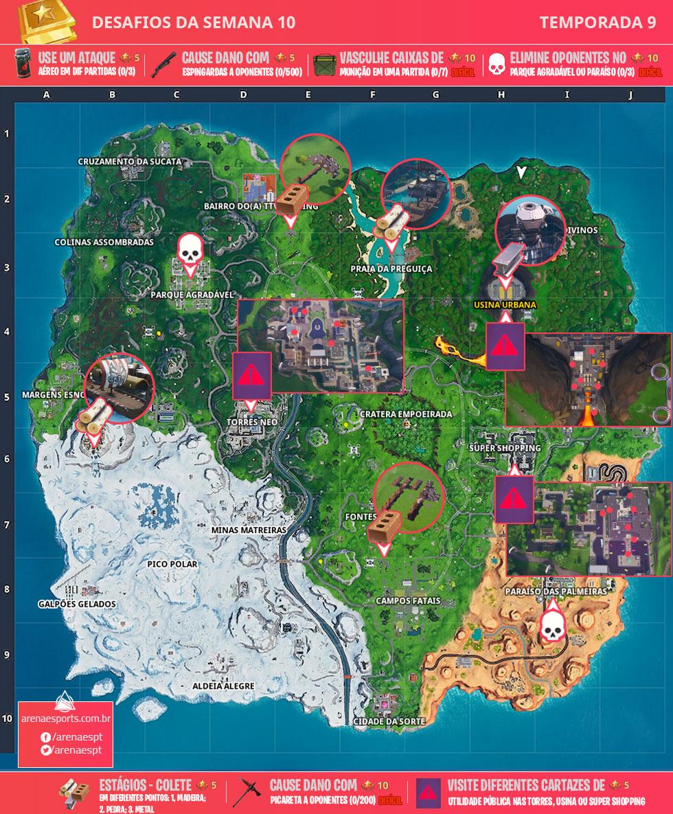 Mapa dos desafios da Semana 10 da Temporada 9 de Fortnite