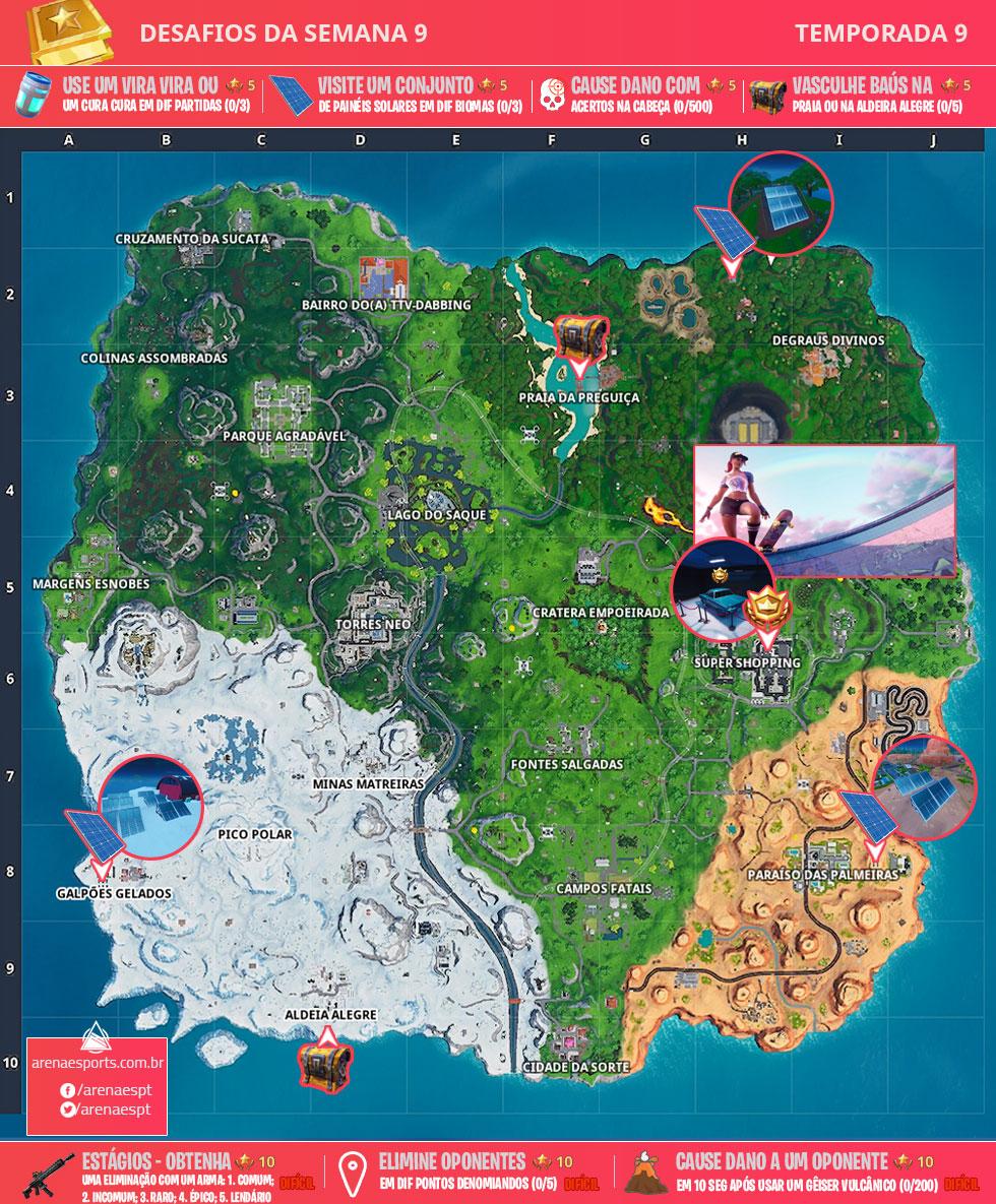 Mapa dos desafios da Semana 9 da Temporada 9 de Fortnite