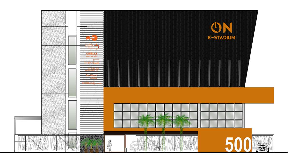 Projeto da fachada da ON e-Stadium (Imagem: Divulgação / ON e-Stadium)