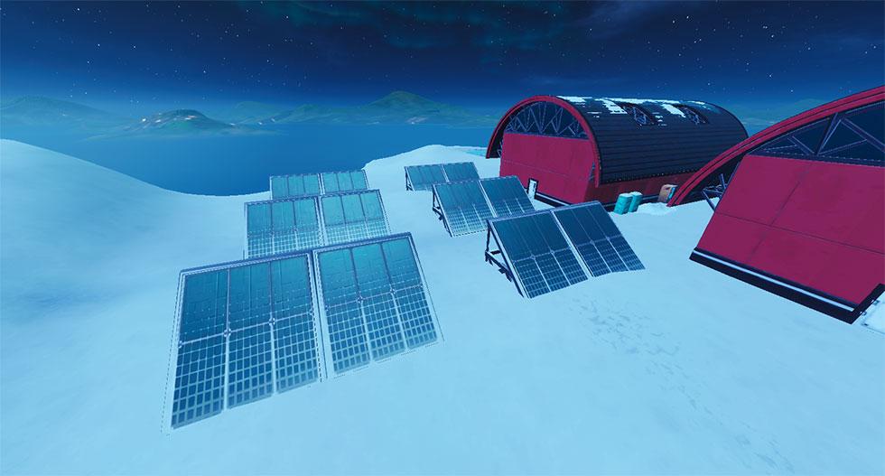 Painel Solar na neve no Fortnite