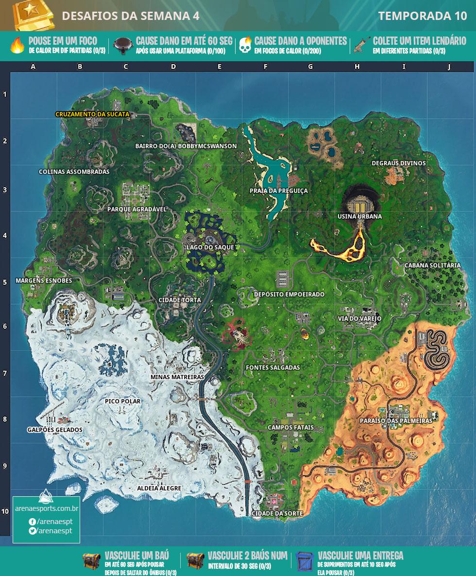 Mapa dos desafios da Semana 4 da Temporada 10 de Fortnite