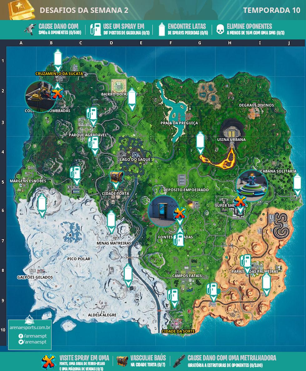 Mapa dos desafios da Semana 2 da Temporada 10 de Fortnite