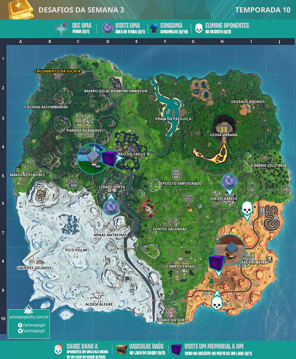 Mapa dos desafios da Semana 3 da Temporada 10 de Fortnite