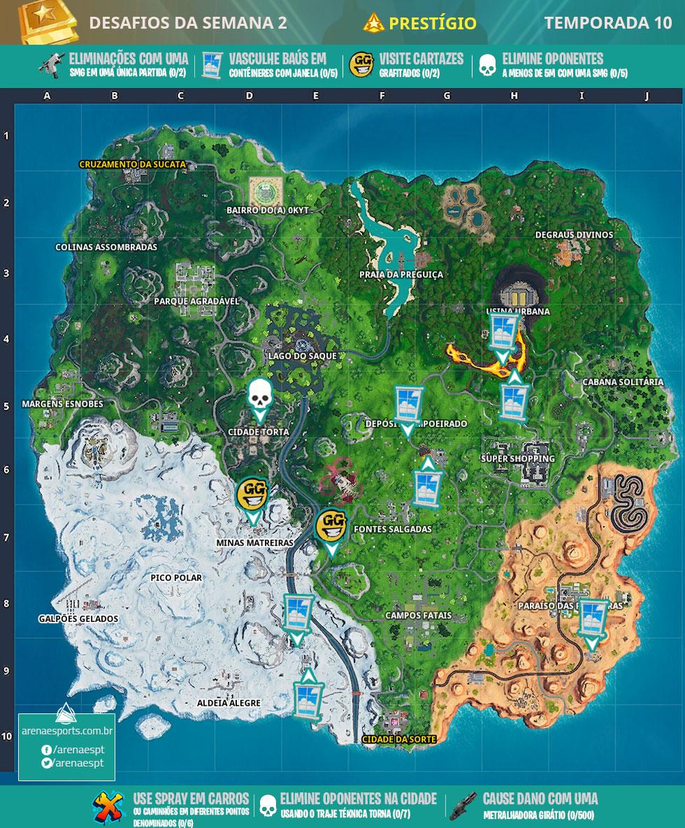 Mapa dos desafios prestígio da Semana 2 da Temporada 10 de Fortinte