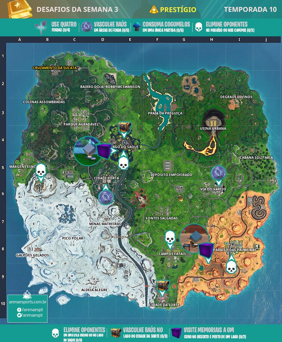 Mapa dos desafios prestígio da Semana 3 da Temporada 10 de Fortnite