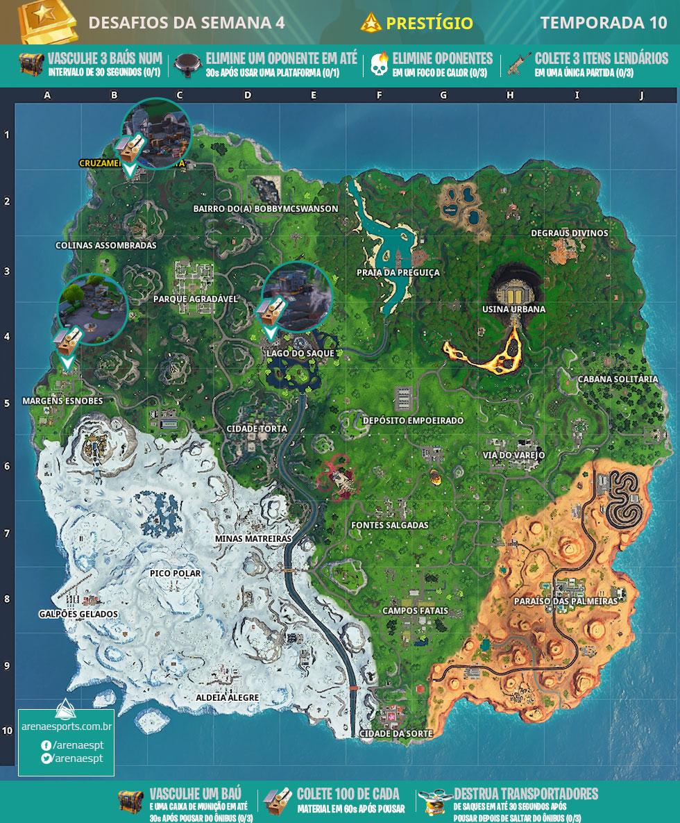 Mapa dos desafios prestigio da Semana 4 da Temporada 10 de Fortnite