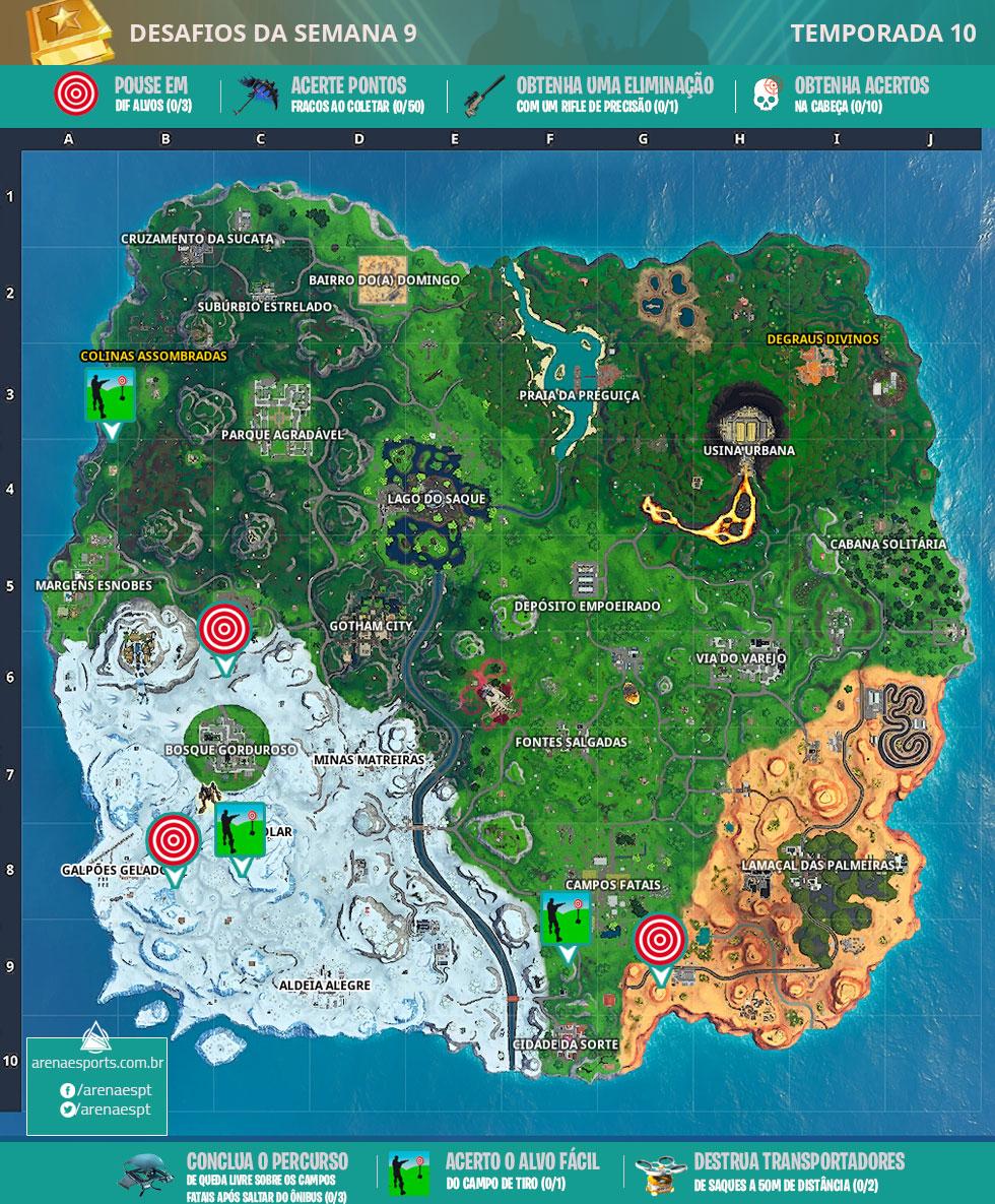 Mapa dos desafios da Semana 9 da Temporada 10 de Fortnite