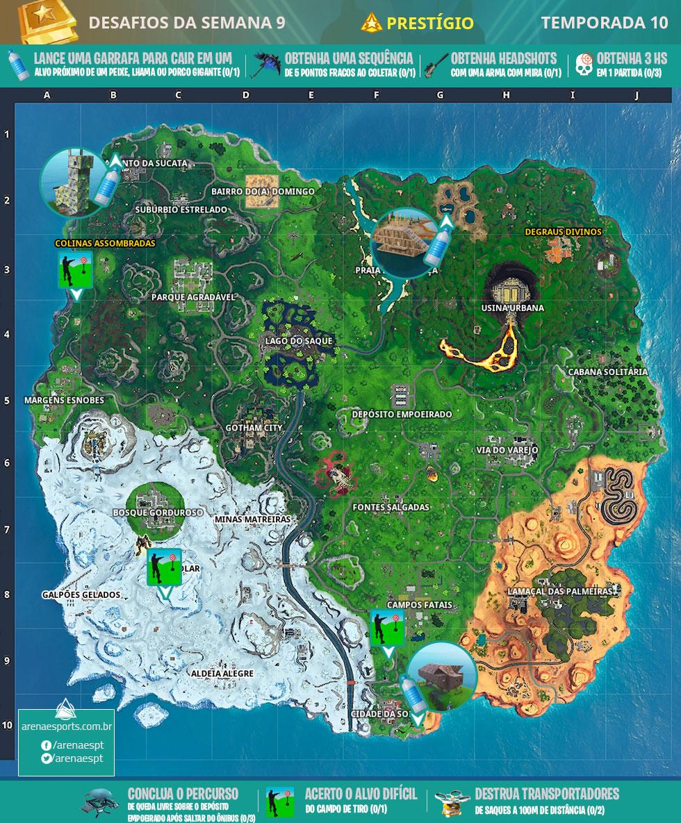 Mapa dos desafios prestígio da Semana 9 da Temporada 10 de Fortnite