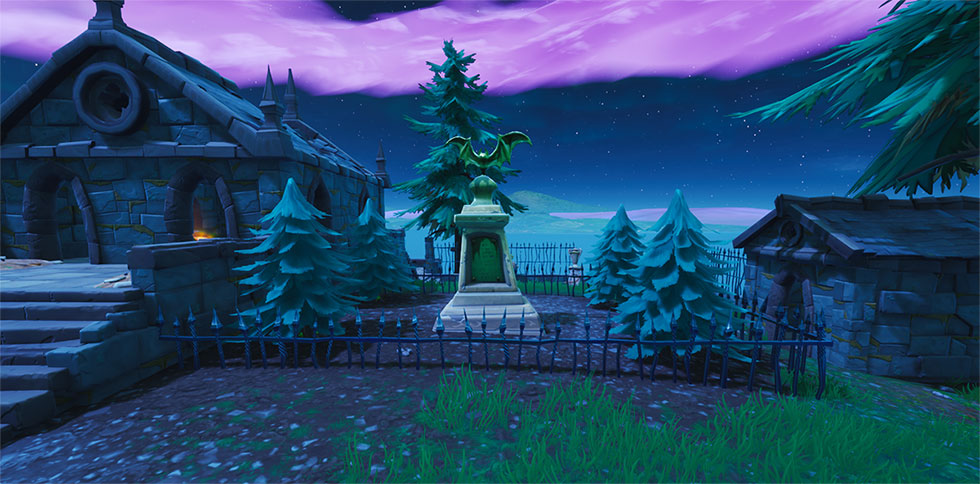 Estátua de morcego no Fortnite
