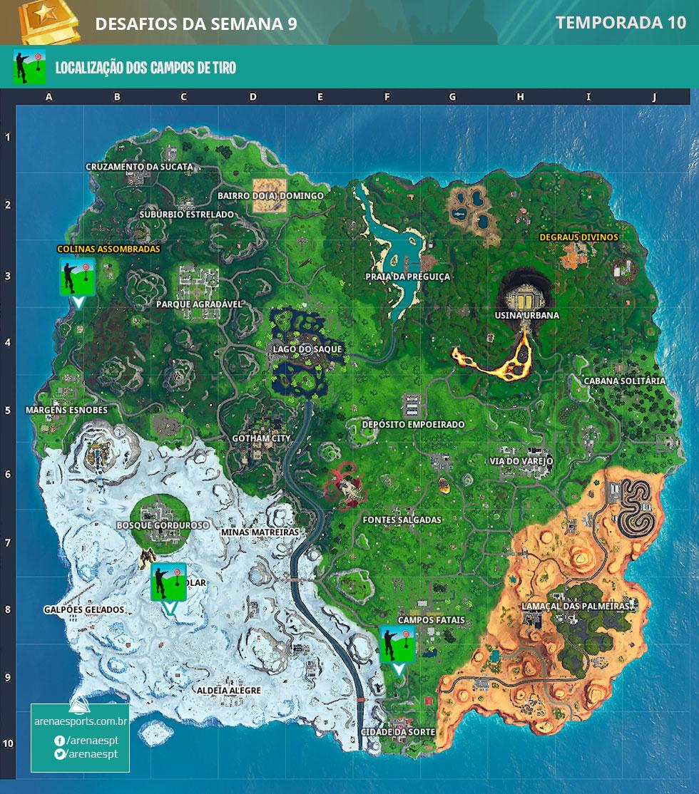 Localização dos campos de tiro da temporada 10 no Fortnite