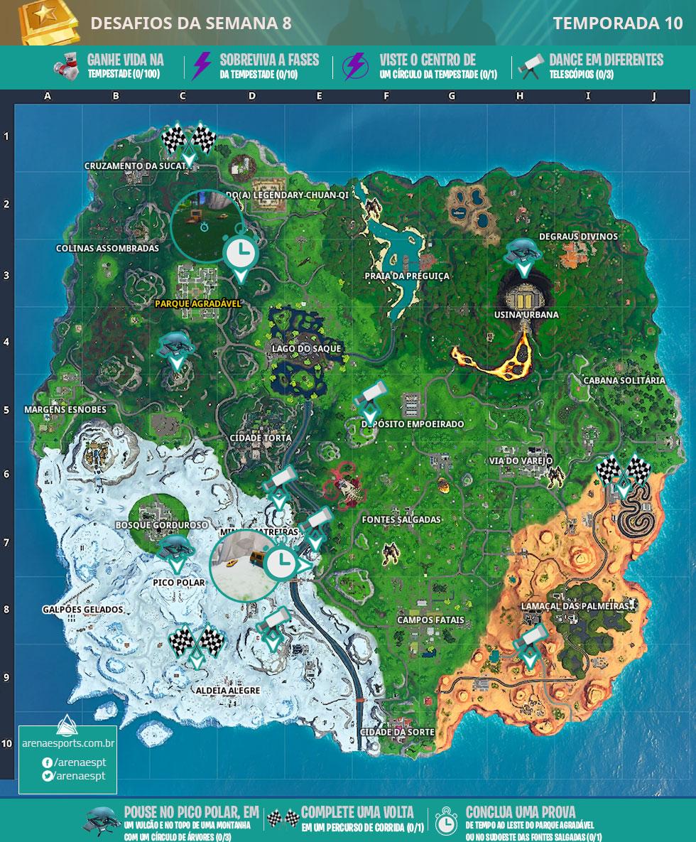 Mapa dos desafios da Semana 8 da Temporada 10 de Fortnite