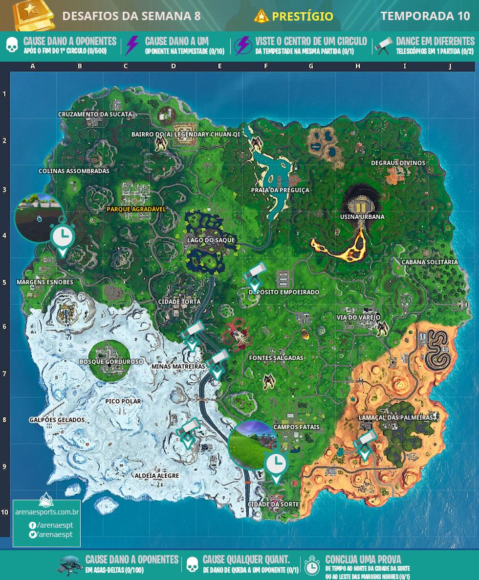 Mapa dos desafios prestigio da Semana 8 da Temporada 10 de Fortnite