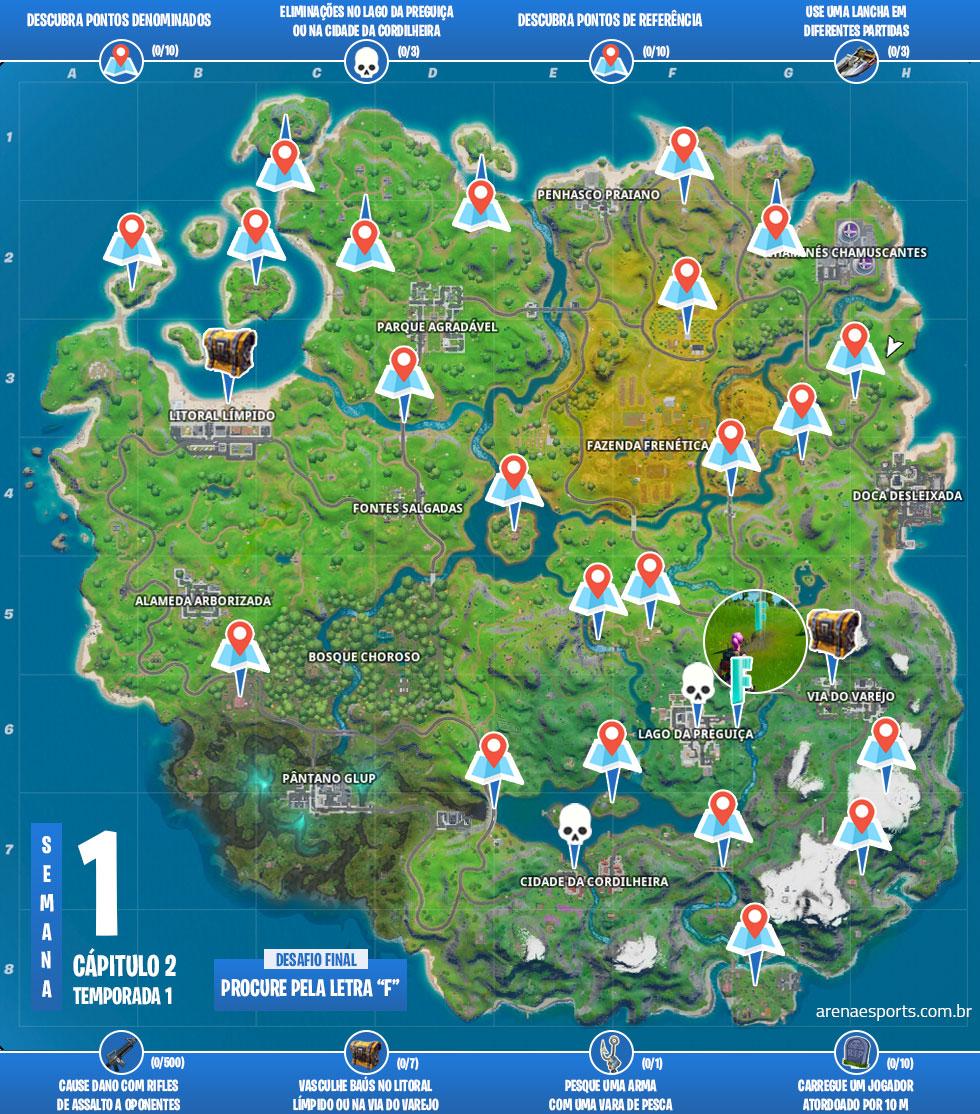 Mapa dos desafios da Semana da Temporada 1 do Capítulo 2 de Fortnite