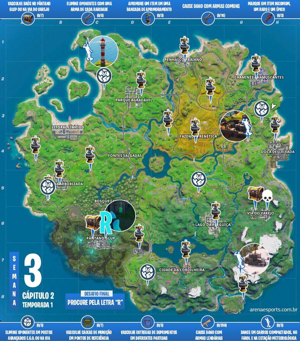 Mapa dos desafios Forjado no Glup