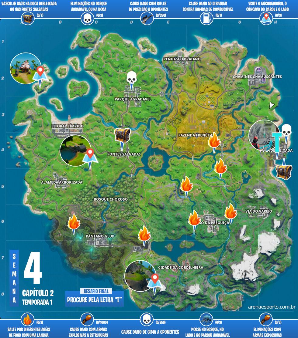 Mapa dos desafios da Semana 4 da Temporada 1 do Capítulo 2 de Fortnite