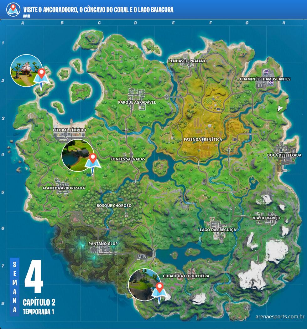Localização do Ancoradouro, do Côncavo do Coral e do Lago Baiacura no Fortnite