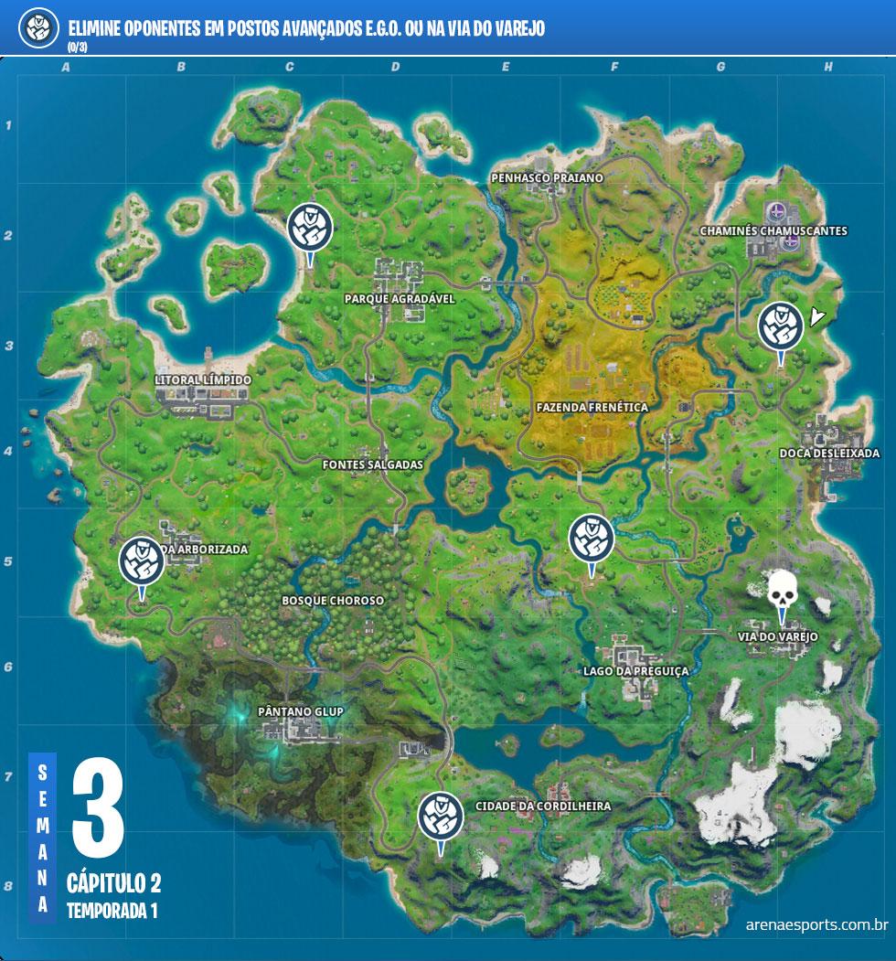 Localização dos postos avançados E.G.O. no Fortnite