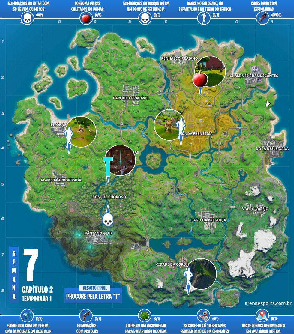 Mapa dos desafios da Semana 7 da Temporada 1 do Capítulo 2 de Fortnite