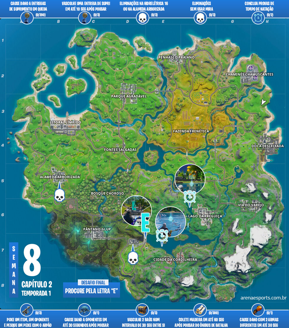 Mapa dos desafios Mergulhe! do Fortnite