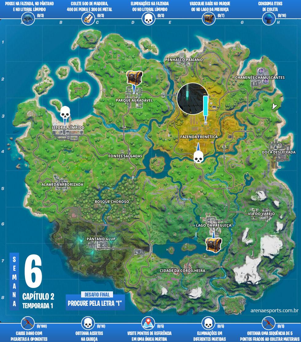Mapa dos desafios Pique-esconde do Fortnite