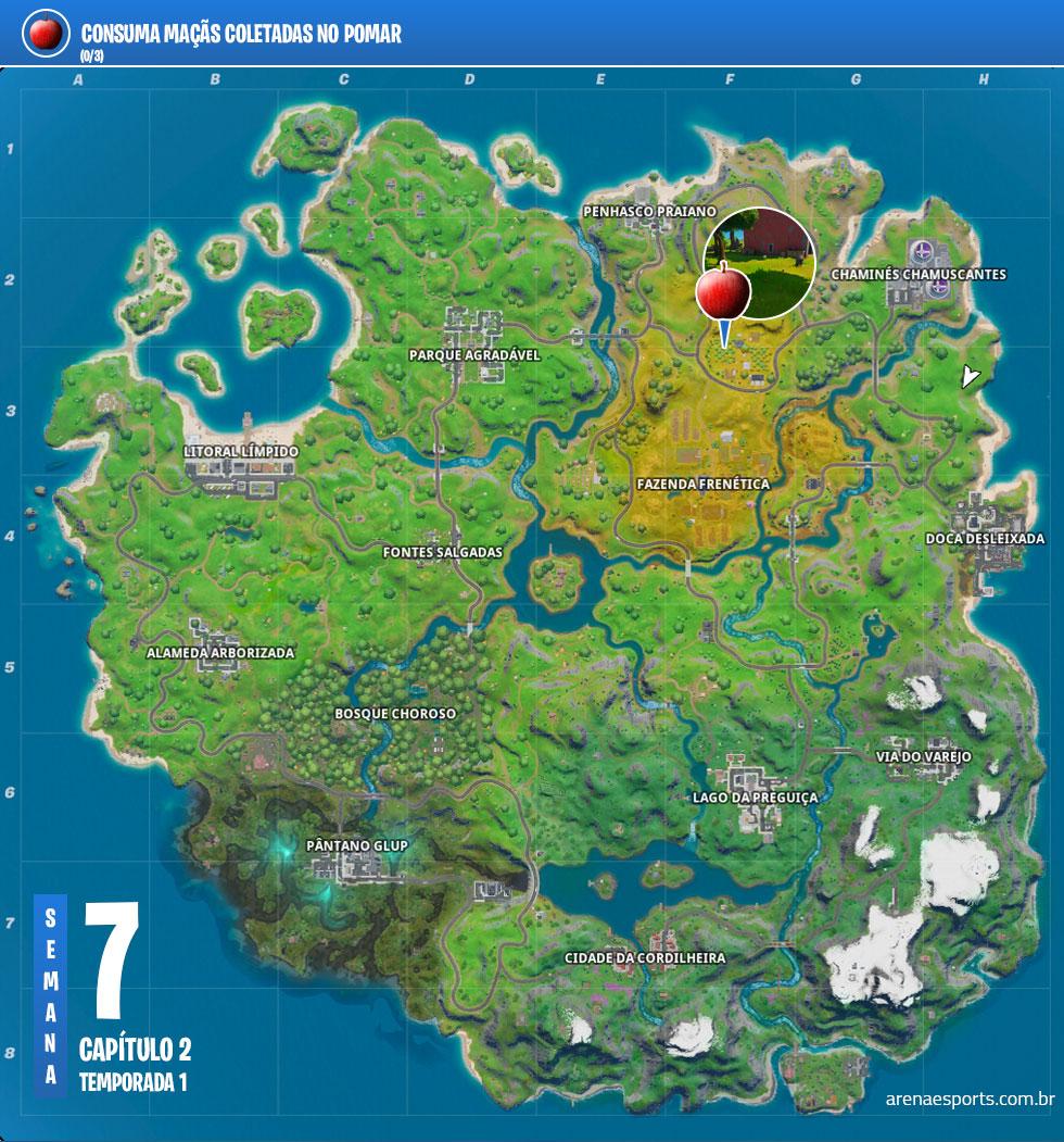 Localização do pomar no Fortnite