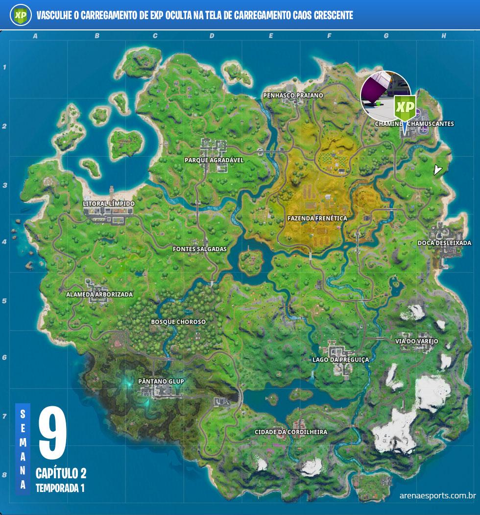 Localização do Carregamento de EXP no Fortnite