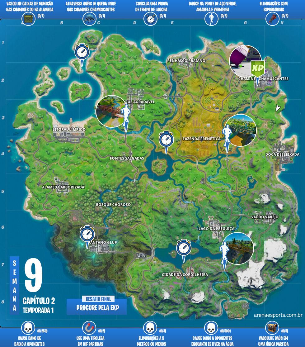 Mapa das missões Caos Crescente no Fortnite