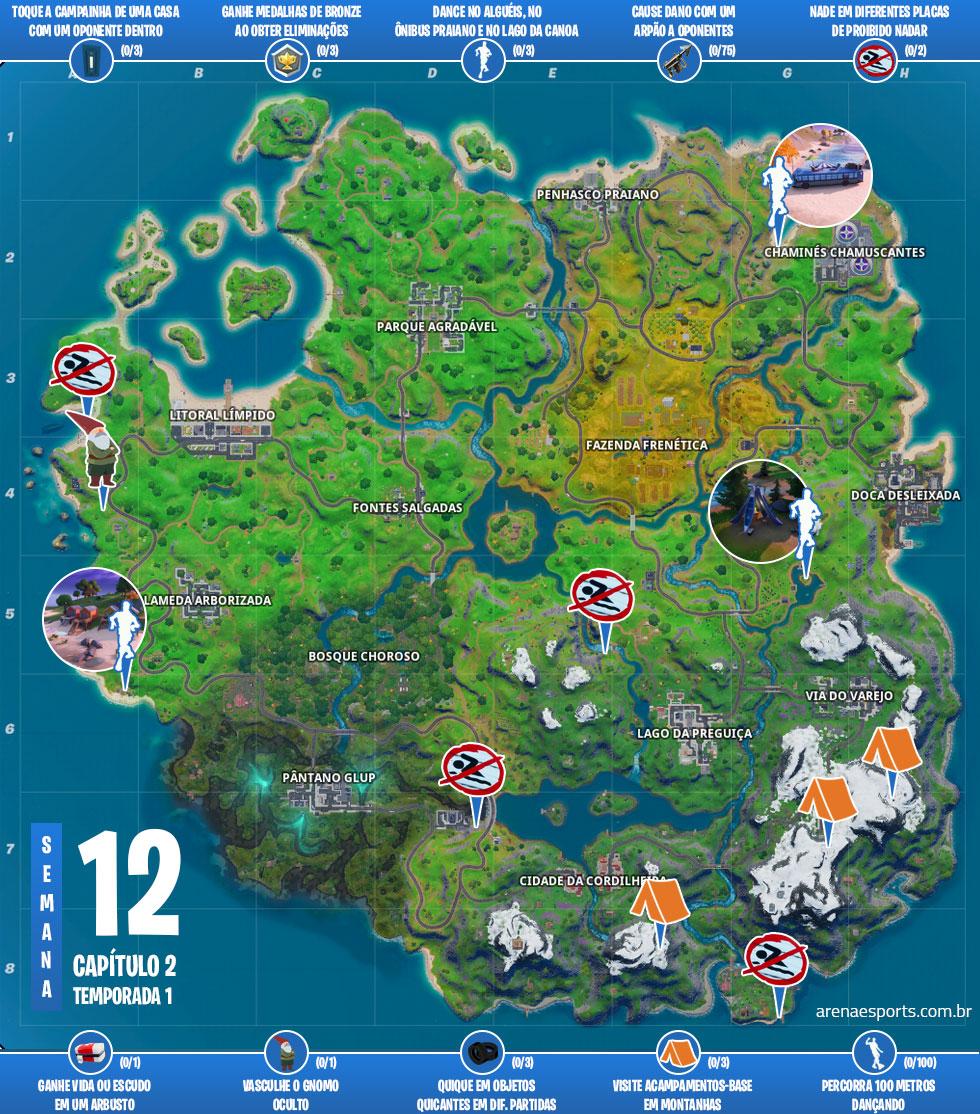 Mapa das missões Bola Preta x Bola Branca no Fortnite
