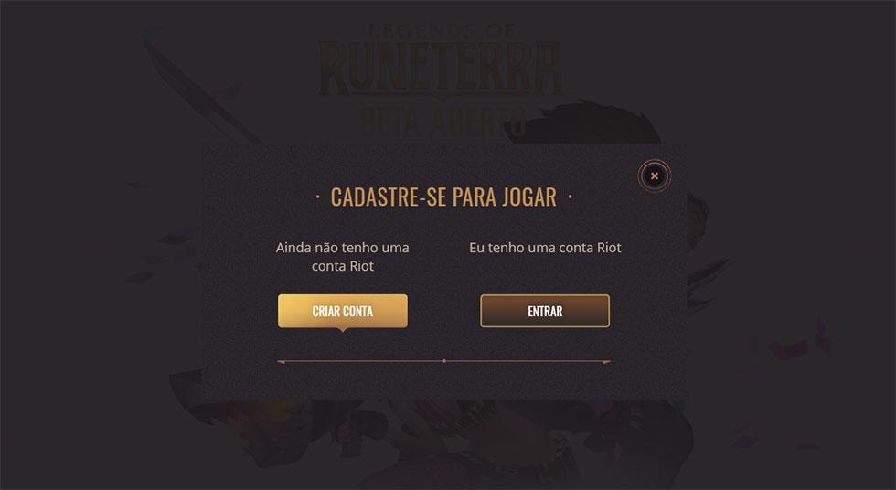 Contas podem ser criadas no site oficial do jogo (Imagem: Riot Games/Reprodução)