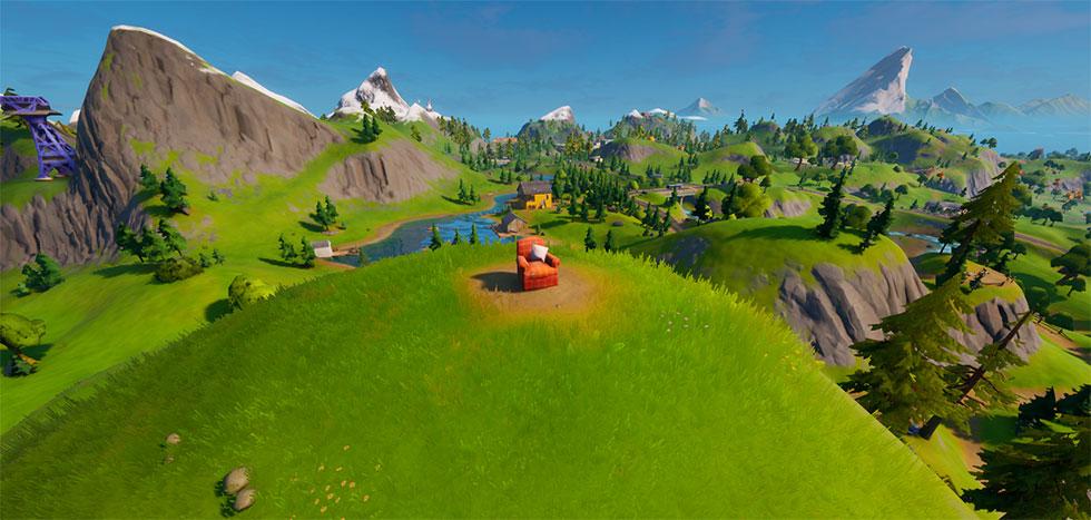 Poltrona está no pico de uma montanha