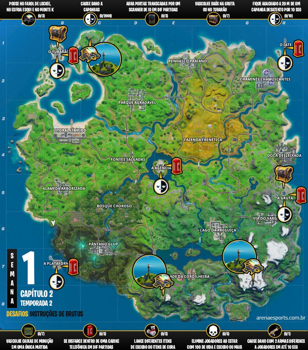 Mapa dos desafios Instruções do Brutus no Fortnite