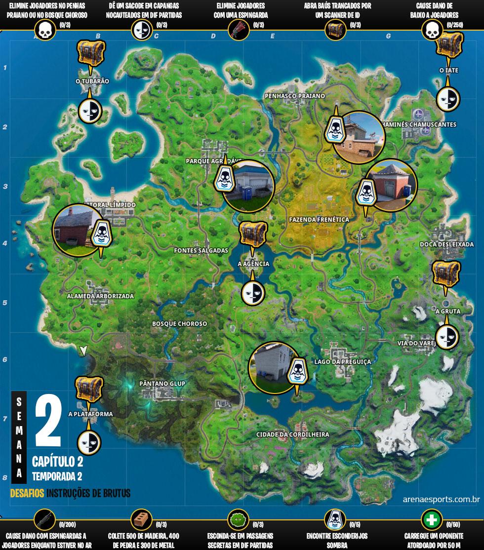 Mapa dos desafios Instruções do Brutos Semana 2